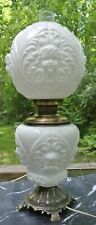 Victorian Gone with the Wind Table Milk Glass Lamp, With Embossed Cherubs