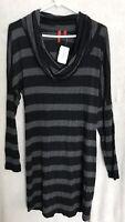 OFF 5th Saks tunic shirt Cowl neck Grey/ Black stripe Large NWT $118 Retail.