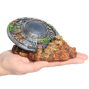 Aquarium Ornament UFO Landscape Fish Tank Decor Barrel Shelter Accessories