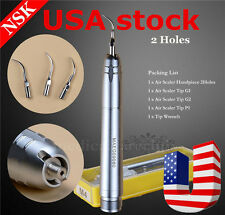 2Holes Dental Ultrasonic Air Scaler Handpiece Sonic Perio Hygienist 65-68dB USA