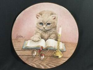 VTG 1992 LE Curious Kittens/Bob Harrison 9th Issue Little Scholar Plate MIB/COA