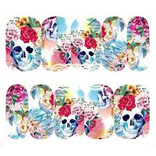 Nail Art Water Decals Full Wraps Halloween Skulls Flowers Roses Gel Polish (096)