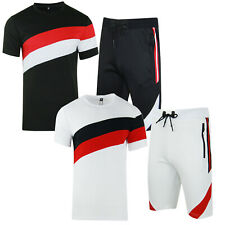 Mens Polyester T Shirt + Shorts Zip Full Track Suit Outfit Set Summer Comfort