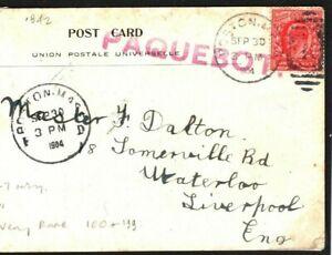 GB Card Used Abroad USA Rare Boston PAQUEBOT 1904 Ship PPC {samwells-covers}Q81a