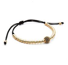 Mens Woman's 18k Gold Plated Diamond Ball Macrame Beaded Bracelets Handmade Gift