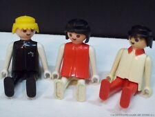 Vintage Geobra 1974 Playmobil Figures 3 Toys Red Black White Boys Girl