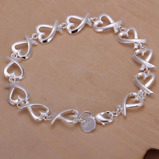 Womens 925 Sterling Silver Love Heart Link Chain Bangle Fashion Bracelet #B431