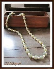 Exotic Green Natural  Stone Bead Pearl Strain Necklace L 34 cm. Fashion Jewelry