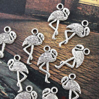 30PCS Flamingo Charms Pendants Antiqued Silver Double Sided Making DIY Handmade
