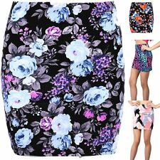 Womens Mini Skirts Ladies Plus Size Bodycon Skirts Floral Print Stretchy Fitted