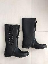 BCBG Max Azria Women Sz 8 Rain Boots Studded Matte Rubber Black Flaws