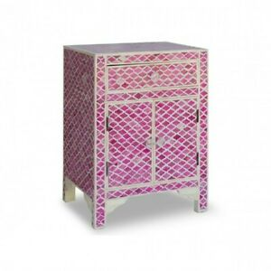 Bone inlay Geometric bedside Cabinet lamp table (MADE TO ORDER)