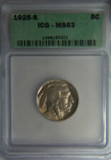 1925-S Buffalo Five Cents Nickel - ICG MS63 - Beauty!