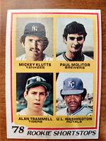 1978 TOPPS #707 ROOKIE SHORTSTOPS PAUL MOLITOR / ALAN TRAMMELL / KLUTTS RC