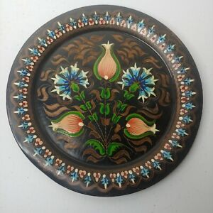 """Vintage Hand Painted Copper Plate Round Black Floral Pink Blue Hanging 9 3/8"""""""