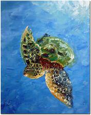 Hand Painted Sea Turtle Oil Painting On Canvas - Ocean Wildlife Animal Fine Art