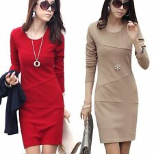 Women Office Lady Career Slim Bodycon Short Wrap Dress Long Sleeve Mini Dresses