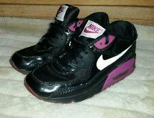 Girls Nike Air Max '90 White Black purple GS Running 345017-013 sz 6Y