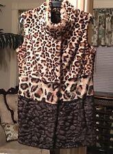 Alberto Makali  Leopard Multi Color Animal Print Faux Fur Vest