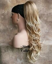 EXTRA LONG Sandy Blonde Mix Ponytail Wavy Claw Clip on in Extension Hair Piece
