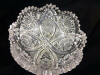 "Antique American ABP European Brilliant Cut Glass 8"" Bowl Harvard Hobstar 3.5 Lb"