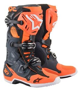 Alpinestar Adult TECH 10 Motocross MX Boots Grey Orange Flou - All Sizes