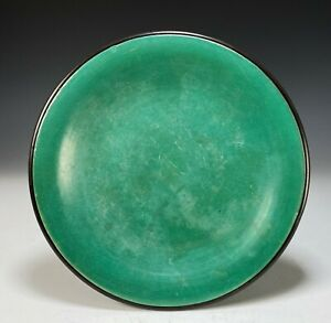 Unusual Antique Chinese Apple Green Glazed Porcelain Dish