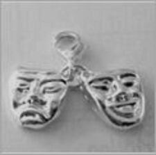 LOVELY SILVER SAD FUNNY FACES CLIP ON CHARM FOR BRACELETS - 925 SILVER PLATE