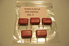 0.047uF 250V Polyester Capacitors WIMA NOS Qty 5 Stomp box Guitar effects etc.