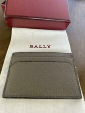 BALLY SHAR Grey pebbled Calf Leather Business Card case wallet