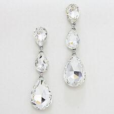 "Rhinestone Earrings Long 3 Teardrops Crystal SILVER 3""Drop Wedding Evening Bride"