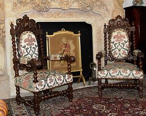 Antique French Carved Renaissance Revival Barley Twist Pair Armchairs  Circa1860