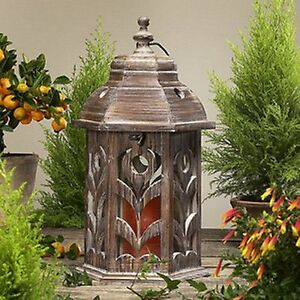 Laterne Holzlaterne Flora Shabby Chic Vintage Landhausstil