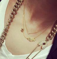 Woman Korean Gold Crystal Element 2 Elephants Cute Family Necklace Fashion
