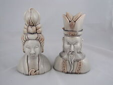 Roselane Pottery Oriental Figurine Pair in Gray Gloss Glaze