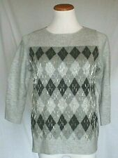 Talbots Womens Sweater Petites Large PL Gray Wool Blend Embellished NWOT T10