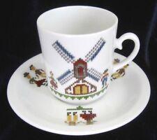 Kronester Bavaria Demitasse Espresso Cup & Saucer -Needlepoint Windmill & Couple