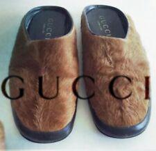 GUCCI Men's Shoes Fur Slipper Brown With Black Leather Tom Ford Era 9 Uk 43 Eu