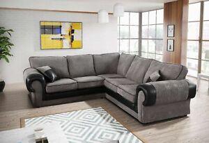 LARGE TANGO 5 Seater Sofa Jumbo Cord Grey Black / Brown Fabric 2 / 3 seater sofa