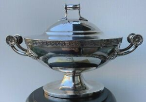 Antique Gorham Silver Plate Tureen Gravy Boat Bowl Server Empire Greek Key