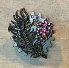 Steampunk Brooch/ Pin- Large Gear, Feather, Heart W/ Pink Crystals