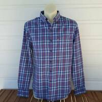 Levis Shirt Mens Check Long Sleeve Blue Size S Small Slim Fit (B1)