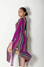 New Ex Top Shop Multi Vibrant Stripe High Neck Open Back Long Dress Size 6-12