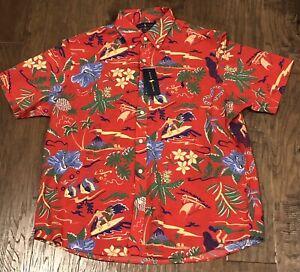 Ralph Lauren Polo Untucked Fit Rare Seersucker Sz.XL Tropical Hawaiian Shirt Red