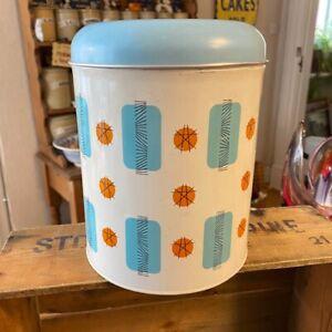 Vintage Worcester Ware Large Kitchen Storage Tin / Canister – Blue & Orange –