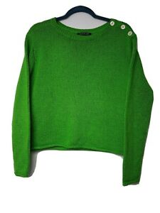 Lauren Ralph Lauren Neon Green Knit Sweater Pullover Shoulder Buttons Sz M C12