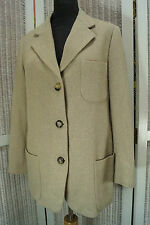 """PIAZZA SEMPIONE Pure Cashmere Blazer M 39"""" Bust Oatmeal Ivory Tweed Weave Jacket"""