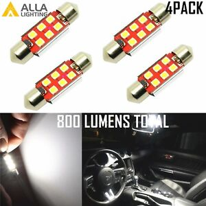 Alla Lighting 4pcs 6000K 3030 6-LED Dome Map Trunk Light Festoon Bulb 578,White