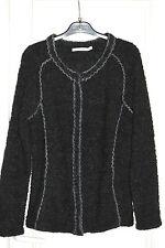 TEQUILA SOLO Cardigan en 26% laine bouclette douce noir et gris  +broderie T.M