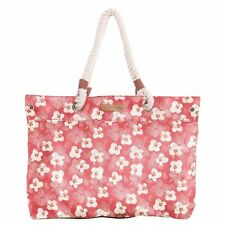 Brakeburn Large Spring Daisy Floral Beach Bag Tote Coral Red Rope Handle Cotton